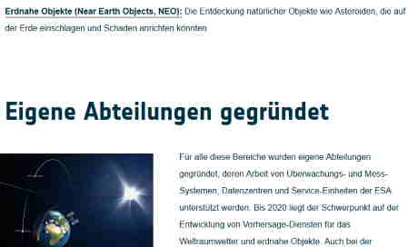 ESA startet Near Earth Object Programm
